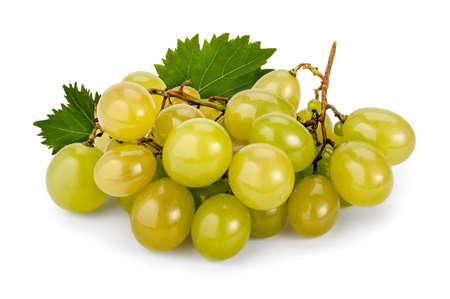 A bunch of white grapes with leaves lie on a white background. Obtained by crossing the Bicane and Hamburg Muscatel grapes, Italia (Muscat) is certainly one of the most popular varieties of table grapes in the world.