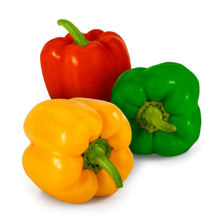 blocky: The big, blocky, sweet fruits of red, green and yellow Bell peppers (Capsicum annuum), isolated on white.