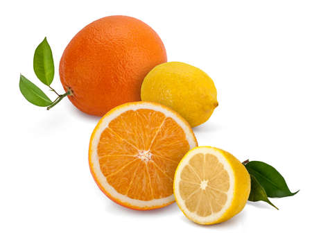 Lemon and Orange, wholes and halves, with leaves on white. Stock Photo