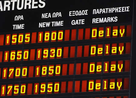 deceleration: Information display with a delay message Stock Photo