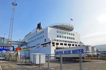 hirtshals: Torshavn, Faroe Islands - June 5, 2014: The ferry ship Norrna from Smyril Line has moored at the ferry terminal in Torshavn. The ship arrived in the morning from Iceland and which prepared for the onward journey to Hirtshals Denmark. The Norrna ferry is a