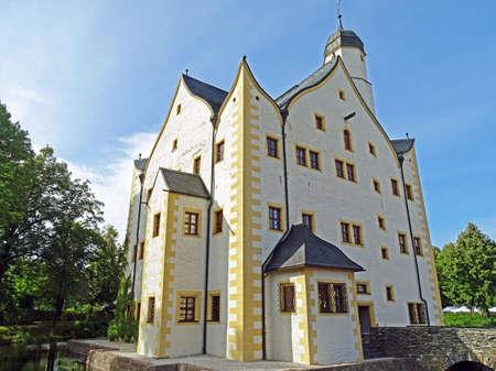 Moated Castle Wasserschloss Klaffenbach in Chemnitz Stock Photo