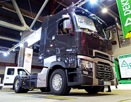 Chemnitz, Germany - October 4, 2015: The presentation of Renault Range T truck on the commercial vehicle exhibition COMMCAR in Chemnitz, Germany. The Range T model has been elected International Truck of the Year for 2015. Truck of the Year is an award di