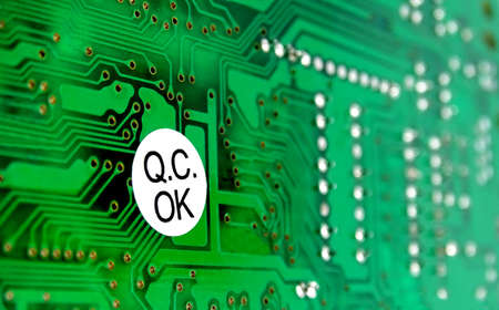 PCB with sticker of quality control Stock Photo - 67375206