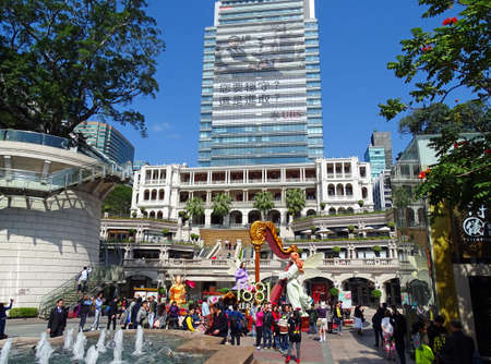 oficina antigua: Tsim Sha Tsui, Hong Kong - February 09, 2016: The former Marine Police Headquarters Compound together with the One Beijing office building behind it. The building built in the year 1884. In 2009, it what Transformed into a heritage hotel with food and bev