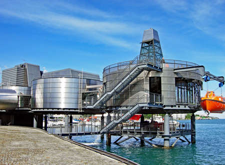 Stavanger, Norway - June 5, 2009: Exterior view of the Norwegian Petroleum Museum in Stavanger. Focus of the museum is the offshore oil production in the North Sea. The architecture is reminiscent of a small rig. Visitors walk on the roof of the building. Editorial