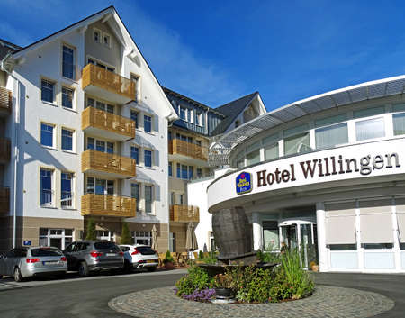 Willingen, Germany - October 12, 2015: Entrance of the hotel Best Western Plus Willingen (Germany). At the entrance there is a fountain in the shape of a beer keg, as the hotel has its own brewery. Best Western is the worlds large largest hotel group wit Editorial