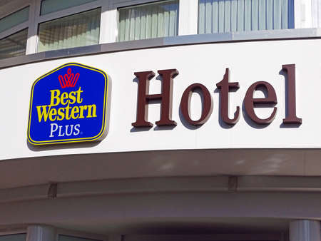 Willingen, Germany - October 12, 2015: Lettering and logo at the entrance of the Best Western Plus hotels Willingen. Best Western is the worlds large largest hotel group with more than 4,200 hotels. The Best Western Hotel Willingen is located in the cent