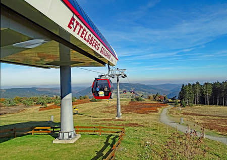 Willingen, Germany - October 12, 2015: The Ettelsberg cable car connects the Hessian village Willingen with the 838 m high Mount Ettelsberg in the Rothaar Mountains. The cable car which put into operational in 2007. Each of the 55 cabins can carry up to 8