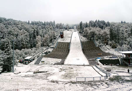 Willingen, Germany - October 14, 2015: Ski jump m�hlenkopfschanze in Willingen (Germany) after the first snow of the winter season 20152016. It is the biggest large hill ski jump of the earth. Once a year, a World Cup competition takes place on it.