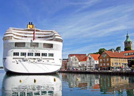 Stavanger, Norway - June 5, 2009: The cruise ship AURORA by P & O Cruises has moored at Skagenkaien Pier in the port of Stavanger (Norway). The ship which on a journey through the countries of northern Europe. P & O Cruises is a brand of the British-Ameri
