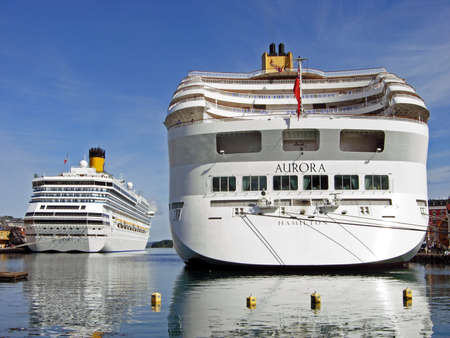 Stavanger, Norway - June 5, 2009: The cruise ships AURORA and Costa Magica have moored at Skagenkaien Pier in the port of Stavanger (Norway). The ships were on a journey through the countries of northern Europe. Editorial