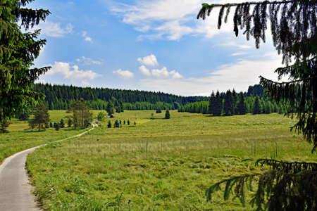 Romantic landscape in the Schwarzwassertal in the Erzgebirge in Saxony  Germany Stock Photo