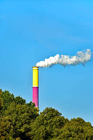 Colored chimney of the thermal power station Chemnitz (Germany) Stock Photo