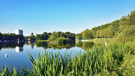 Pond Schlossteich in Chemnitz (Germany) in the morning sun Stock Photo