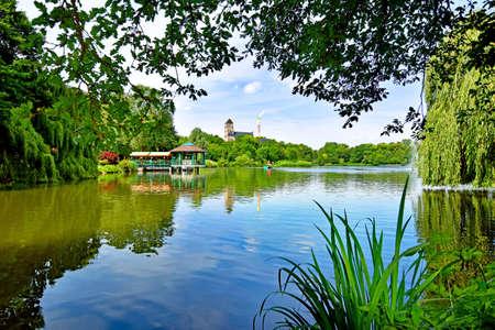 Pond Schlossteich in Chemnitz (Germany) Stock Photo