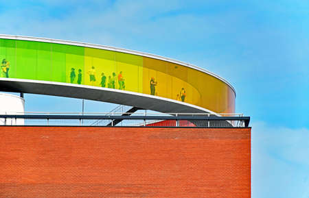 Aarhus, Denmark - July 20, 2017: People are visiting the Your rainbow panorama on the roof of the ARoS Aarhus Art Museum.