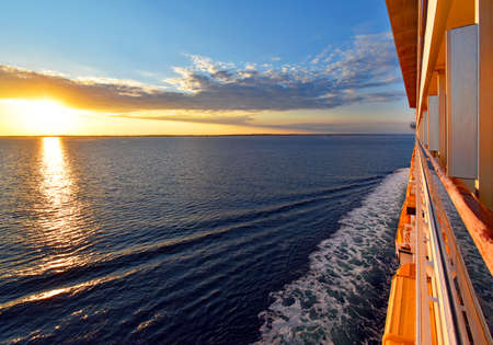 stateroom: Trip across the ocean at sunset