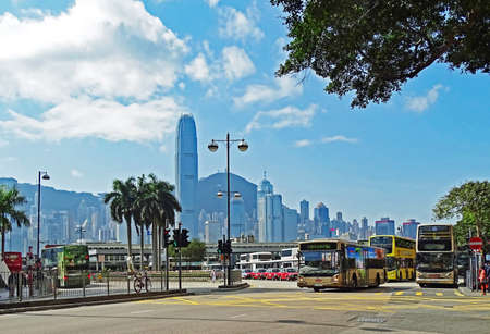 Tsim Sha Tsui, Hong Kong - February 09, 2016: Some buses at the bus station at Salisbury Road in Tsim Sha Tsui, the transfer point to the Star Ferry, with which you can go to Hong Kong Island. Editorial