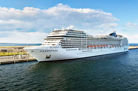 Copenhagen, Denmark - July 15, 2017: The cruise ship MSC Magnifica of MSC Cruises is moored at the ocean Quay cruise terminal at the port of Copenhagen Editorial