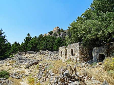 pili: Ruins of the deserted village Palio Pyli on the island of Kos (Greece)