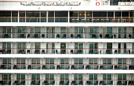 stateroom: Many balconies with furniture on a cruise ship Stock Photo