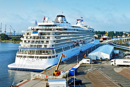Germany - July 21, 2017: The Viking Cruise Viking Cruises has been moored at the pier