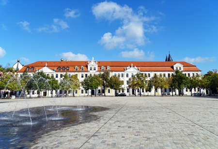 Cathedral Square. Domplat with historic buildings of the Saxony-Anhalt state parliament in Magdeburg, Germany Stock Photo