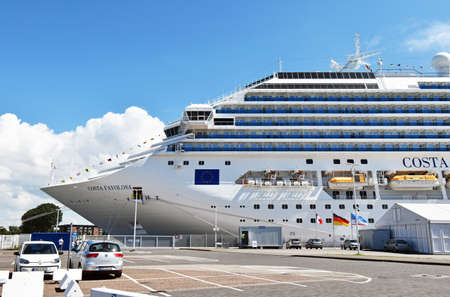 Rostock Warnemunde, Germany - July 14, 2017: Costa cruise ship Costa Crociere has moored at the pier in Rostock Warnemunde. It was a 7-night cruise to Denmark and Norway.