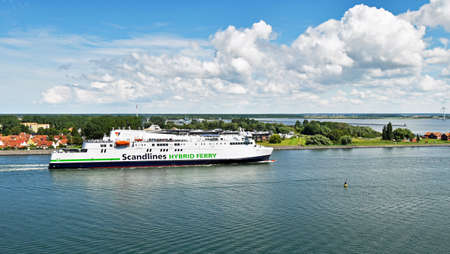 Warnem, Germany - July 14, 2017: Scandlines enters the port of Rostock. The ferry connects to the German port of Rostock with Gedser in Denmark.
