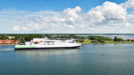 Modern ferry enters the port of Rostock. The ferry line connects to the German port of Rostock with Gedser in Denmark