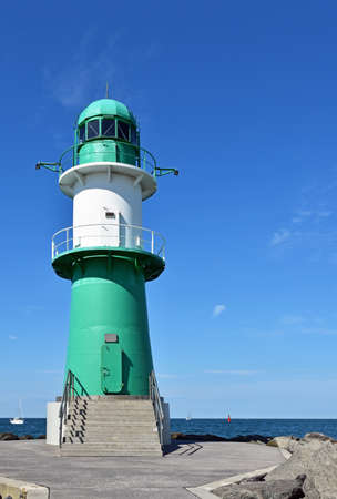 Lighthouse on the western pier in Warnem?nde in Germany