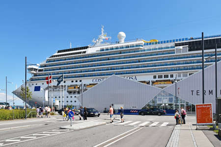 Copenhagen, Denmark - July 15, 2017: The cruise ship Costa Favolosa Costa Crociere has moored at the Ocean Quay Cruise Terminal in Copenhagen. It was a 7-night cruise to Germany and Norway.