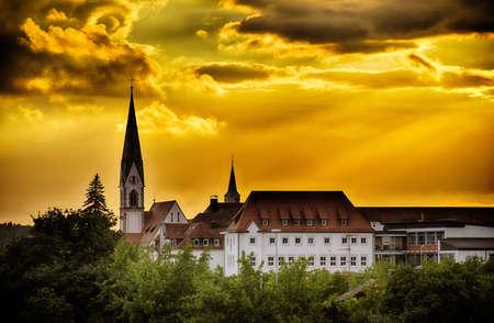 Skyline of the city Herzogenaurach in Bavaria (Germany) at sunset