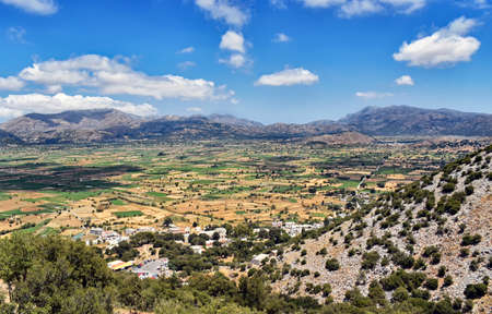 Panorama of the Lasithi Plateau on Crete Iceland in Greece Stock Photo - 108058857