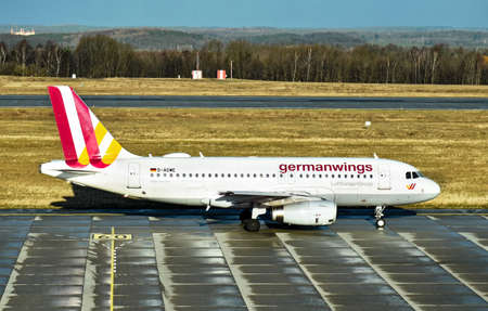 Dresden, Germany - February 12, 2018: An Airbus A319-100 aircraft from Lufthansa Germanwings is ready for take-off at Dresden International Airport.