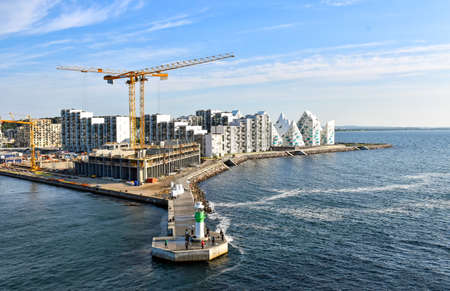 Aarhus, Denmark - July 20, 2017: Construction site at the harbor of Aarhus (Denmark)