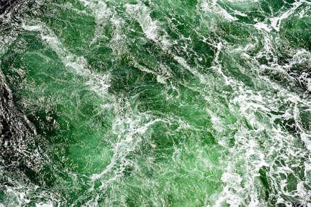 Turbulent water behind a ship