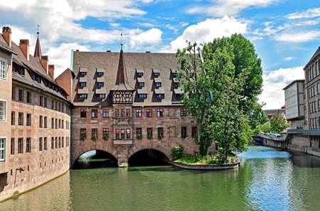Historic buildings in the old town of Nuremberg (Bavaria, Germany)