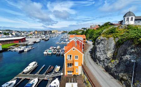 View over the harbor of the city Haugesund in Norway Stock Photo