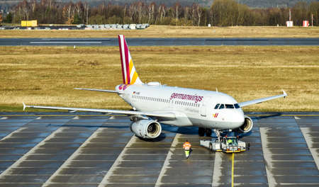Dresden, Germany - February 12, 2018: An Airbus A319-100 of Germanwings, a Lufthansa subsidiary, is pushing into take-off position at a Dresden International Airport.