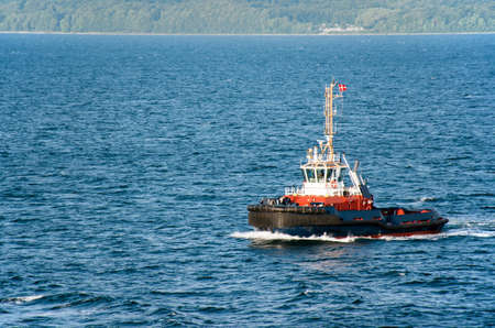A tugboat with a Danish flag on the sea, in the background the wooded coast can be seen