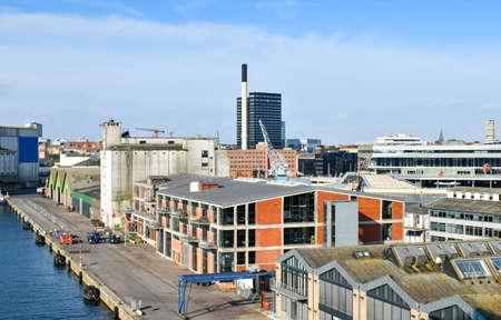 View over the harbor of Aarhus in Denmark 版權商用圖片 - 143314704