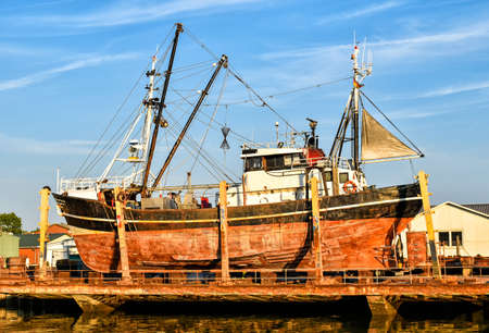 Fishing boat in a shipyard in Buesum on the North Sea in Germany
