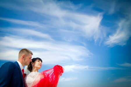 the groom and the bride are looking forward against the blue sky photo