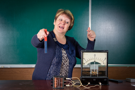 galvanometer: The teacher of physics explains concept of electromagnetic induction. Electrical engineering   bases