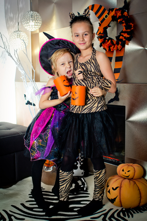 all saints day: Two girls disguised as a tiger and as a witch are frightening someone and waiting for some candies in All Saints Day. Halloween at home.