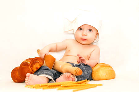 Little baby chef isolated on white  photo