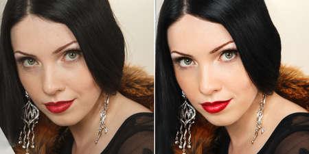 Beautiful woman with long dark straight hair