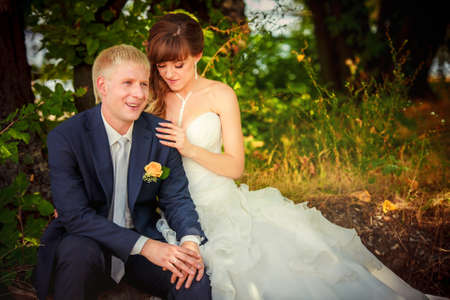 affectionate action: Happy bride and groom on their wedding Stock Photo